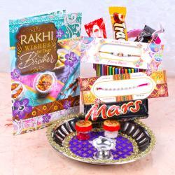 Rakhi Thali with 5 Imported Chocolates Hamper
