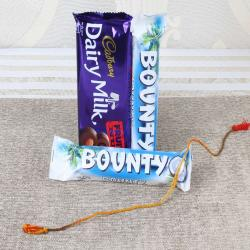 Rakhi Thread with Bounty and Dairy Milk Chocolate