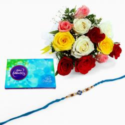 Rakhi with 12 Mix Roses and Chocolate