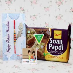 Rakhi with 200 GM Chocolate Soan Papdi