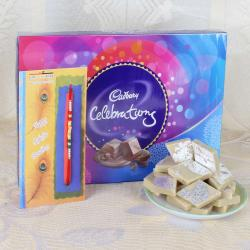 Rakhi with  500 Gms Sweets and Cadbury Celebrations Chocolate Pack