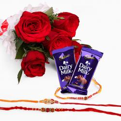 Rakhi with 6 Red Roses and Chocolates