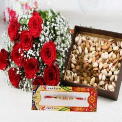 Rakhi with Assorted Dry Fruits and Roses Bouquet