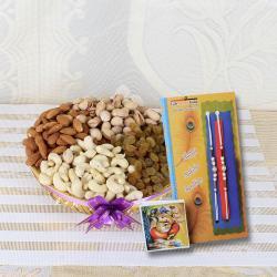 Rakhi with Assorted Dry Fruits Basket