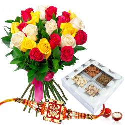 Rakhi with Assortment of Dry Fruits and Roses