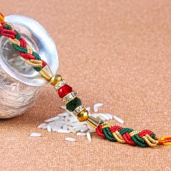 Rakhi with Colorful Zardosi work and Beads