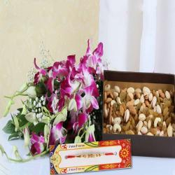 Rakhi with Dry Fruits and Orchids Bouquet