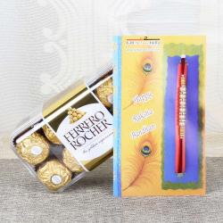 Rakhi with Ferrero Rocher Chocolates box
