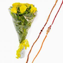 Rakhi with Fresh Yellow Roses