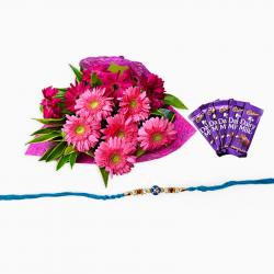 Rakhi with Gerberas Bouquet and Chocolate