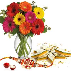 Rakhi with Kaju Sweets and Flowers Vase