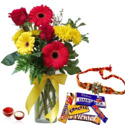 Rakhi with Mix Flowers and Mix Chocolates
