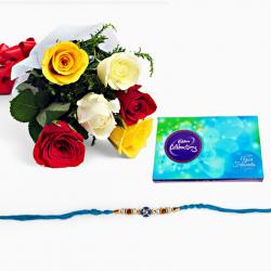 Rakhi with Mix Roses and Celebration Pack