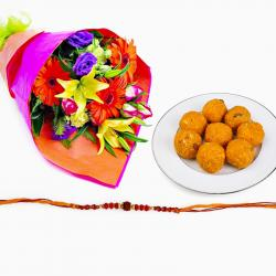 Rakhi with Motichur ladoo and Flowers