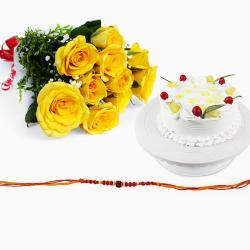 Rakhi with Pineapple Cake and Yellow Roses Bouquet