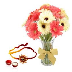 Rakhi with Pink and White Gerberas