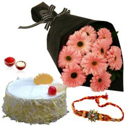 Rakhi with Pink Gerberas Bouquet and Pineapple Cake