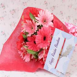 Rakhi with Pink Gerberas Bunch