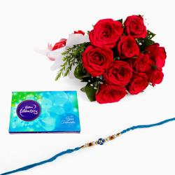 Rakhi with Red Roses and Cadbury Cadbury Celebration Chocolate Pack