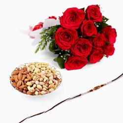 Rakhi with Red Roses and Mix Dryfruits
