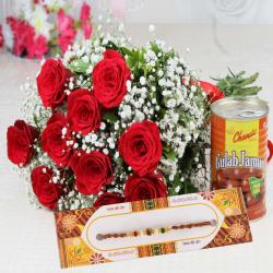 Rakhi with Red Roses Bouquet and Gulab Jamun