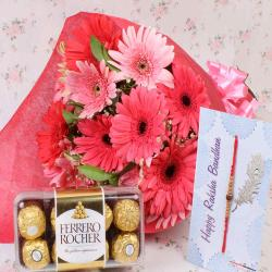 Rakhi with Rocher Chocolate and Pink Gerberas Bunch