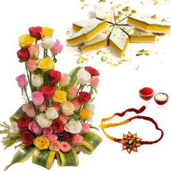Rakhi with Roses Arrangement and Tirangi Kaju Katli