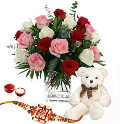 Rakhi with Teddy Bear and Roses Arrangement