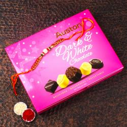 Rakhi with Yummy Auston Chocolates White and Dark Chocolates Box