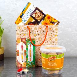 Raksha Bandhan Greeting card with Cookies combo