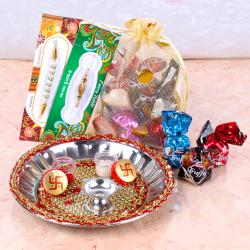 Raksha Bandhan Stainless Steel Thali with Mix Chocolates and 2 Rakhis
