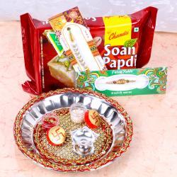 Raksha Bandhan Stainless Steel Thali with Soan Papdi and 2 Rakhis
