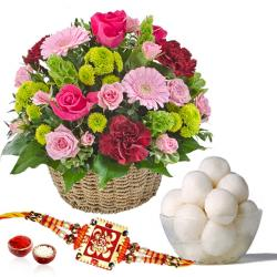 Rasgulla and Rakhi with Fresh Flowers