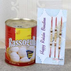 Rasgulla Sweets and Set of 3 Rakhi