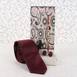 Red Maroon Weaved Printed Tie and Cufflinks Rakhi Gift Combo - UAE