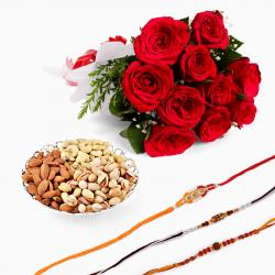 Red Roses and Dryfruits with Set of Three Rakhi