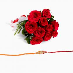 Red Roses Bouquet and Rakhi