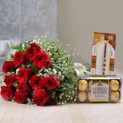 Red Roses Bouquet with Ferrero Rocher Chocolate and Rakhi