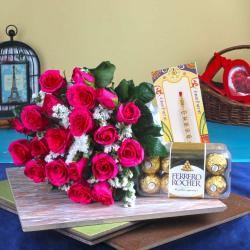 Roses and Chocolate with Rakhi Hamper