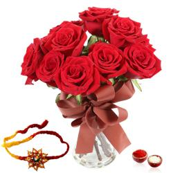 Roses in a Glass vase with Rakhi