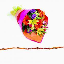 Rudraksh Rakhi with Mix Flower Combo
