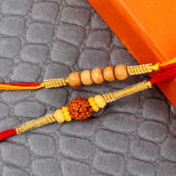 Rudraksh Rakhi with Sandel Wooden Beads Rakhi