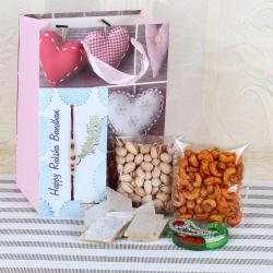 Rudraksha Rakhi with Sweets and Dry Fruits Combo