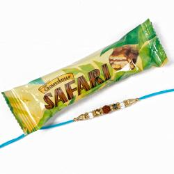 Safari Chocolate with Rudraksha Depict Rakhi