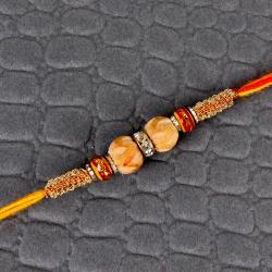 Sandalwood and Diamond Ring Rakhi