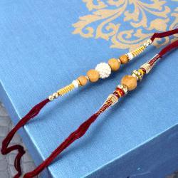 Sandalwood Beads Rakhi with Pearl Rhinestone Beads Rakhi