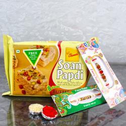 Set of 2 Fancy Rakhis with  Soan Papdi