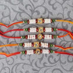 Set of Five Colorful Tiny Bead Rakhis