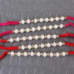 Set of Five Pearl and Golden Beads Rakhi