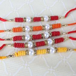 Set of Five Pearl and Small Beads Rakhi
